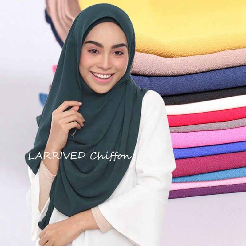LARRIVED wholesale price 90*180cm women muslim hijab scarf femme musulman soft chiffon headscarf islamic hijab shawls and wraps