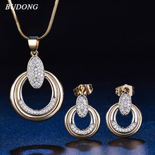 BUDONG Vintage Wedding Jewelry Sets Earrings For Women Unique Bohemia Gold- Color Jewelry Engagement Necklace Gift XUT032A