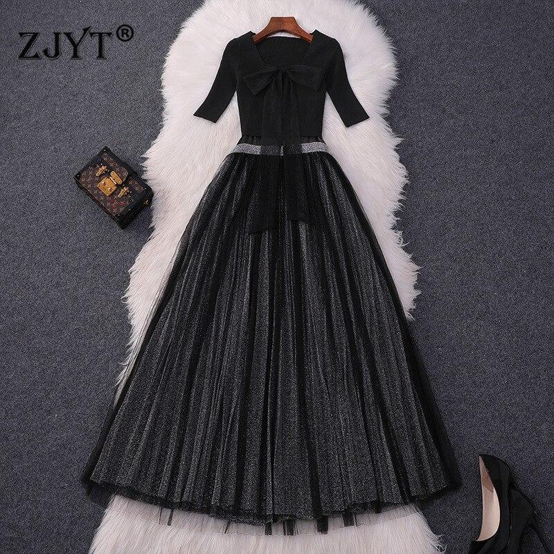 Haute qualité Designer élégant robe de soirée robe d'été automne mode femmes tricot haut court + col en V Midi Tulle robe noir