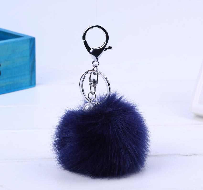 جديد النساء الفراء مفتاح سلسلة سيارة المفاتيح بوم بوم 8 سنتيمتر pompom 13 الألوان مع اللؤلؤ حقيبة العرافة لطيف سيارة مفتاح خاتم #16002