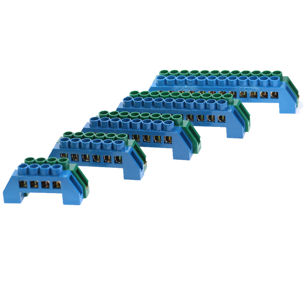 1Pcs Green Blue Screw Brass Din Rail Terminal Block Earth and Neutral Blocks 4/6/8/10/12Way Distribution box terminal strip image