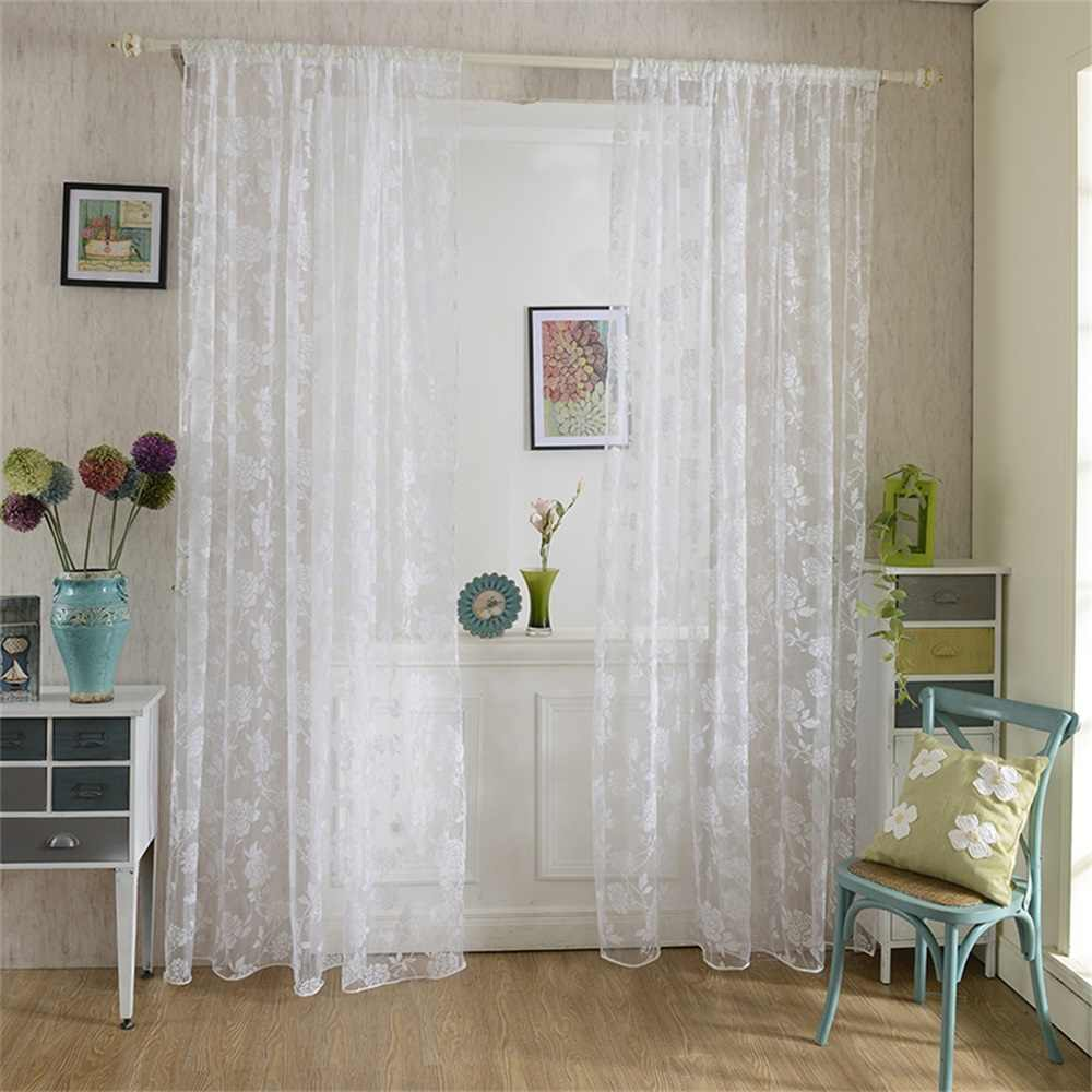 Urijk Embroidery Lace Tulle Curtains Panels White Korean Mesh Flowers Window Screens Curtains For Living Room Warp Knitting
