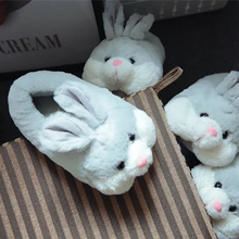 Rabbit slippers for girls House Winter Keep warm slipper women Plus size 41-42 Short Plush Family Flat with Non Slip Home shoes цена 2017
