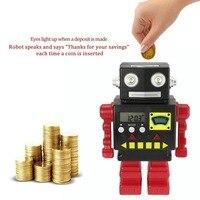 Electronic Robot Bank Shaped Piggy Bank Plastic Doll Coin Bank Money Box Figurines Saving Money Home