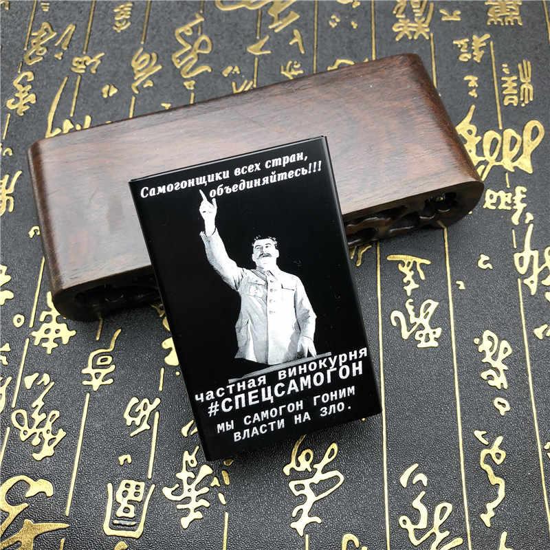 2019 Baru Alalinong Rusia Paduan Aluminium Kasus Rokok Joseph Stalin Lenin Pria Logam Kotak Rokok Laser Terukir Selamanya