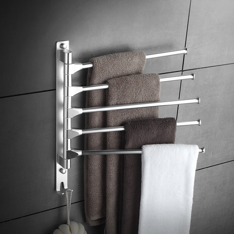 Space Aluminum Rotary Towel Rack Bathroom Bar Single Pole Double Pole Bathroom Towel Rack Wall Mounted Three Or Four Bar Rack bathroom towel racks wall hook bar double pole single pole rack bathroom