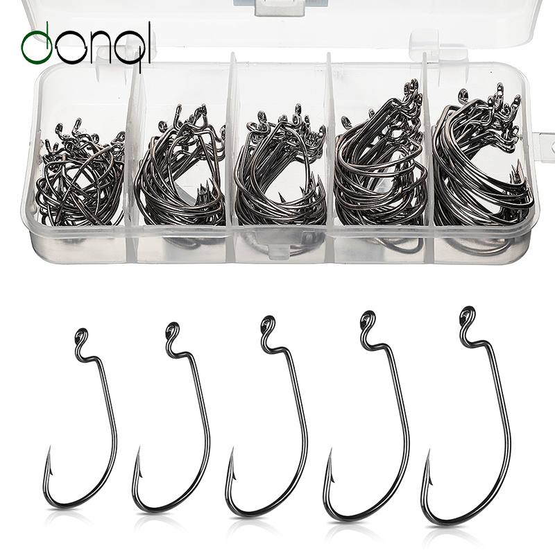 DONQL 50/100pcs Wide Crank Fishing Hooks Carbon Steel Offset Fishhook 3/0#-2# Bass Barbed Carp Fishing Hook For Soft Worm Lure