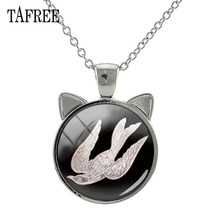 TAFREE Animal Birds Peacock Ear Pendant Necklace Glass Cabochon Charms Chains Necklaces Silver Color Alloy Metal Jewelry BP01
