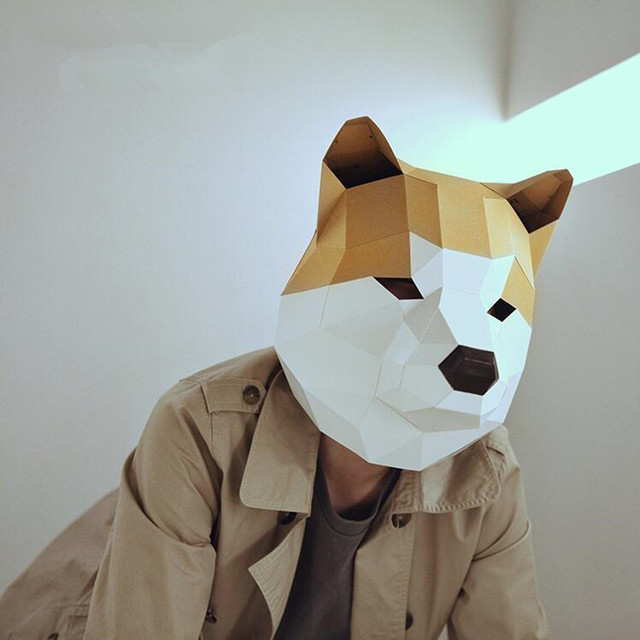 creative handwork akita dog head mask paper matrix cosplay 3d diy mask fancy ball party man