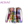 30 Mix Colors Tape Rolls Striping Metallic Yarn Line Nail Art Decoration Sticker Drop Shipping 31