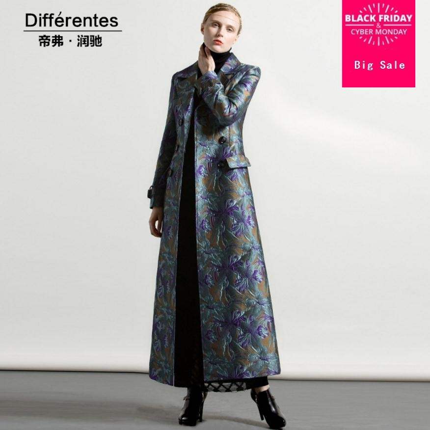 Outerwear Long-Trench Extra Coat Jacquard Designer Double-Breasted Winter Plus-Size Women's