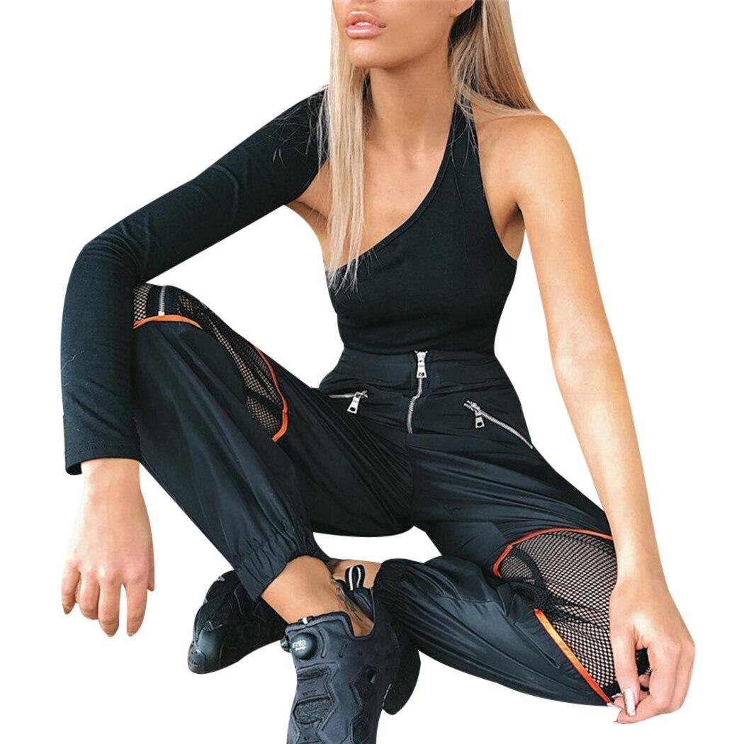 Joggingbroek Dames Met Rits.Mode Mesh Rits Patchwork Harembroek Vrouwen Hoge Taille Hol Joggingbroek Sportkleding Dames Losse Broek Streetwear