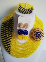 New Season 2016 Yellow Mixed Royal Blue Nigerian Wedding African Beads Jewelry Sets Crystal Flower Necklace
