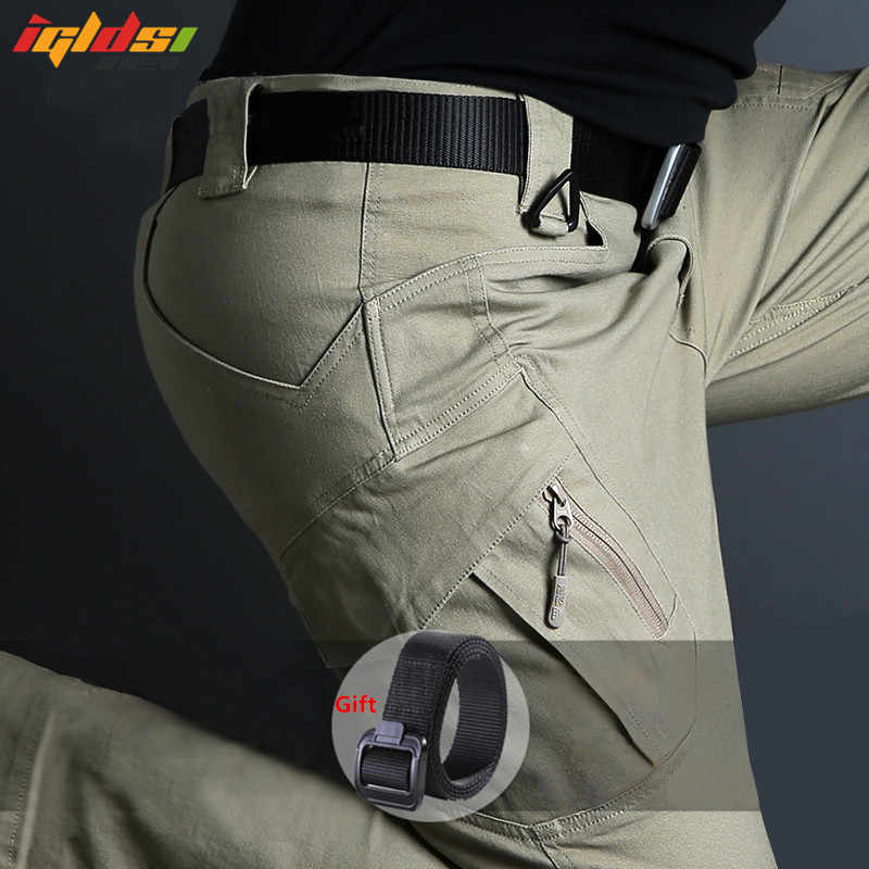 IX9 Military Urban Tactical Pants Men Spring Cotton SWAT Army Cargo Pants Casual EDC Pockets Soldier Stretch Combat Trousers 5XL