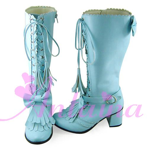 Princess sweet lolita shose Lolilloliyoyo antaina gothic lolita boots custom Antaina lolita 9520 tassel boots cosplay shoes fluffy synthetic lolita curly flax mixed gold long side bang capless cosplay wig for women