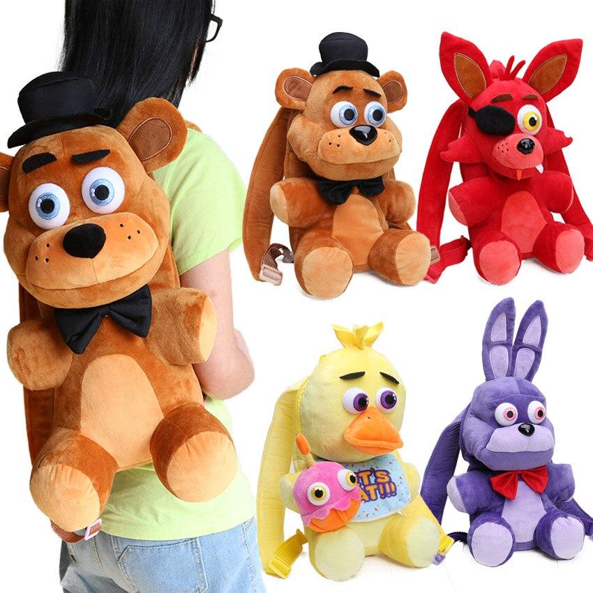 33cm FNAF Freddy Fazbear Foxy Plush Backpack Bonnie Chica Golden Bear Five Nights At Freddy's Stuffed Cosplay School Bag Peluche