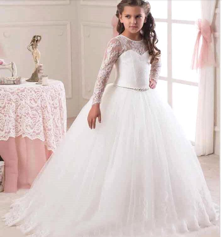 2017 White Ivory Ball Gown Long Sleeve   Flowers     Girls     Dresses   for Weddings Lace First Communion   Dress   Pageant   Dresses