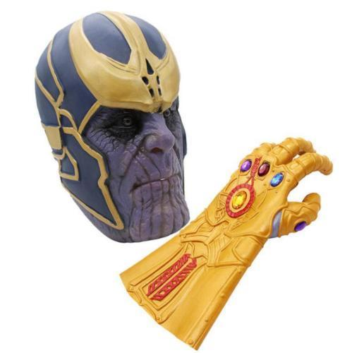 OHCOMICS For Marvel Comic Avengers Infinity War Fans Cool Thanos Mask Infinity Gauntlet Gloves Latex Cosplay Costume Accessory