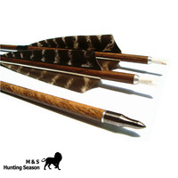 Archery Wood Grained Carbon Fiber Arrows Removable Broadheads Spine 400 500 600 4 Inch Feather For