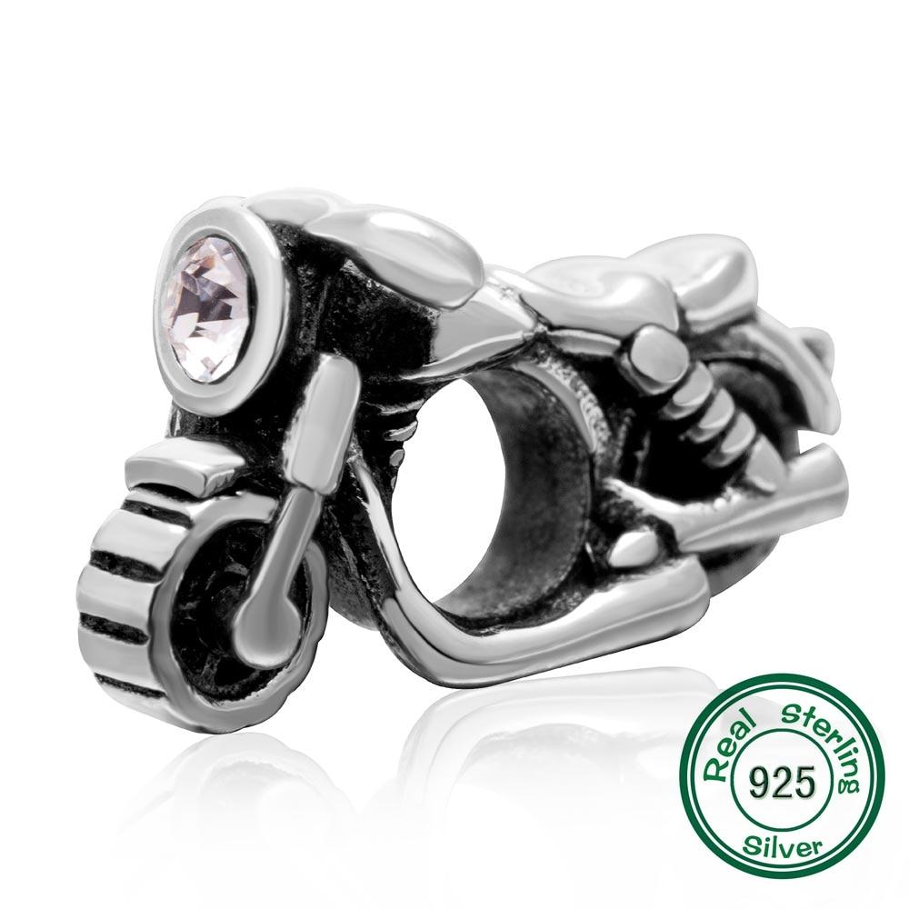 100% 925 motocicleta Prata com clear CZ Fit pandora Bracelet & bangle jóias DIY