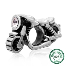 100% de Plata de ley 925 de la motocicleta con clear CZ Fit pandora Pulsera y brazalete de la joyería de DIY