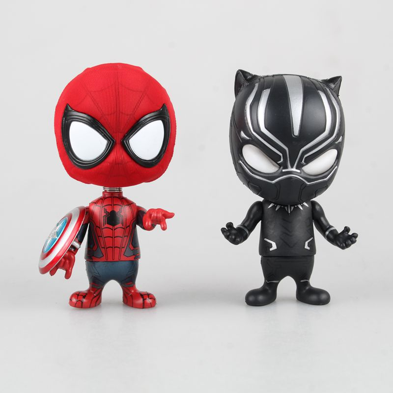 Amazing Spiderman Cosplay Captain America Shield Civil War Black Panther Bobble Head 10CM Anime Movie Pvc Action Figure Kids Toy