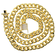 Men's Hip Hop Bling Bling Iced Out wide cuban link miami Chain 1 Row Necklaces Luxury Brand Gold Men Chain(China)