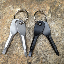 1 Set Stainless Steel Mini EDC Multifunction Screwdriver Key Shape Slotted Screwdrivers Keychain Pocket Repair Tool