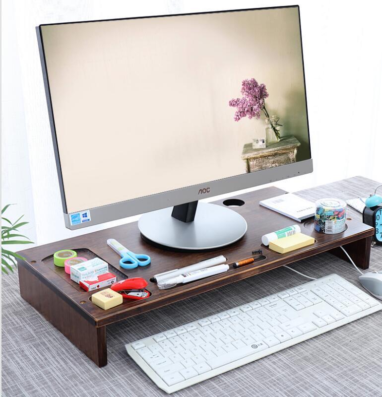 Bambou moniteur support Riser organiseur de bureau ordinateur écran Riser bureau d'ordinateur portable support avec stockage Multi support de téléphone portable