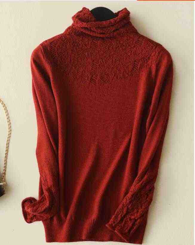 Новинка 2019, зимний кашемировый шерстяной свитер с высоким воротником, Повседневный Женский однотонный длинный вязаный пуловер с длинным рукавом