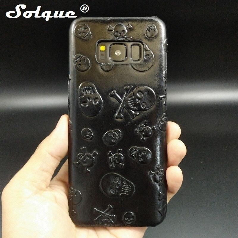 Solque из натуральной кожи Череп чехол для Samsung Galaxy <font><b>S8</b></font> плюс S 8 S8Plus сотовый телефон Роскошные 3D Ultra <font><b>Slim</b></font> тяжелых случаях