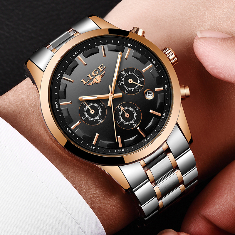 LIGE Hommes Montre De Luxe Marque Mode Casual Quartz Montres Hommes Plein Acier sport robe Montre-Bracelet Militaire Horloge Relogio Masculino