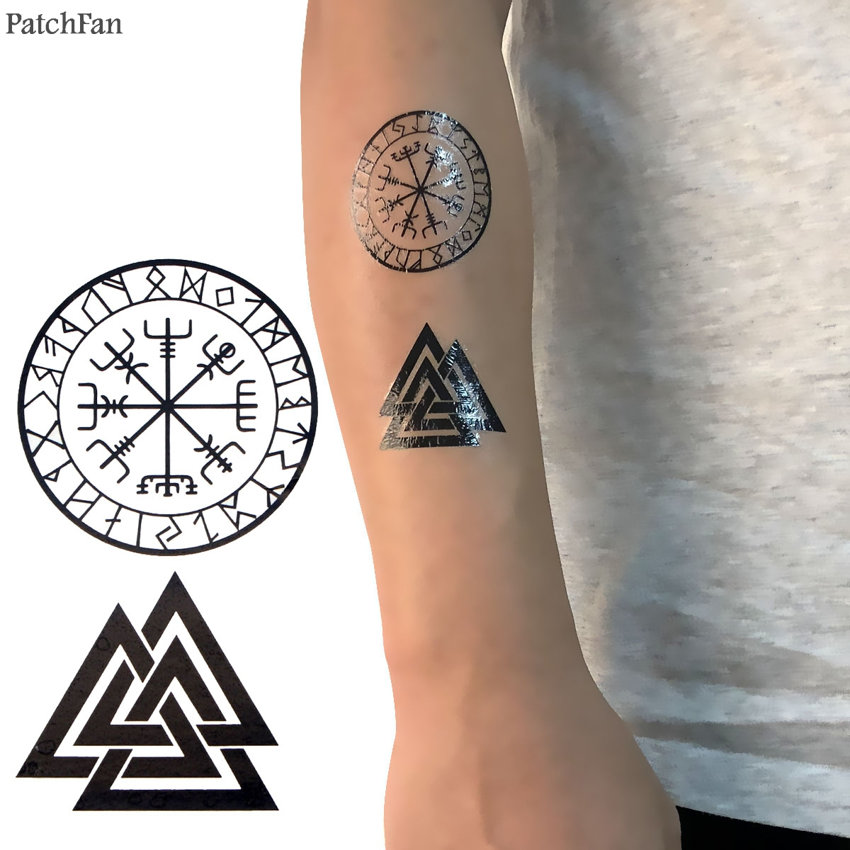 2pcs/set Patchfan Viking Cool Temporary Body Art Flash Tattoo Sticker Para Shoulder Arm Water Transfer Diy Makeup Cosplay A1168