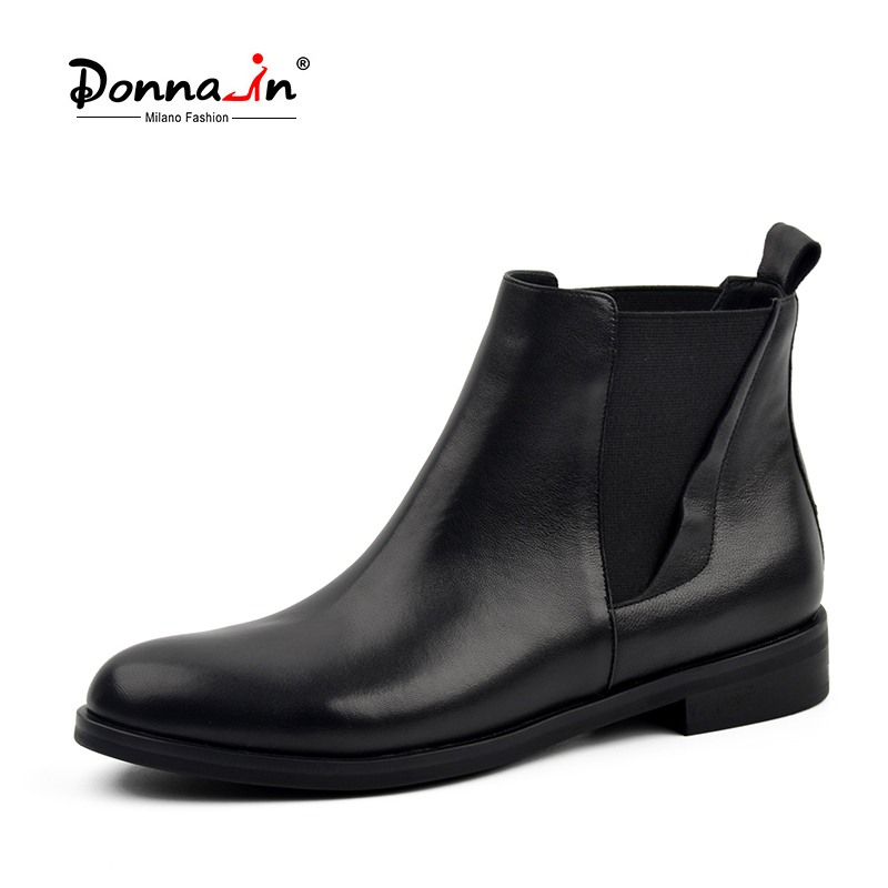 Donna-in Chelsea Boots Women Genuine Leather Round Toe Classic Ankle Booties Flat Heel 2018 Autumn Winter Designer Ladies Shoes