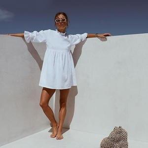 Mini Dresses Shirt Casual Loose Ruffles Women New-Fashion Half-Sleeve Ladies Solid Summer