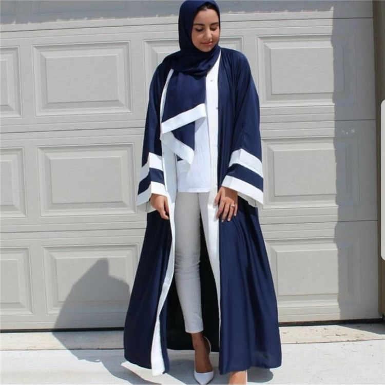 Мусульманские Абайи для женщин Болеро Дубайский кафтан длинный халат Туника кимоно Jubah длинный Восточный халат Мода Синий Розовый Исламская одежда 2019