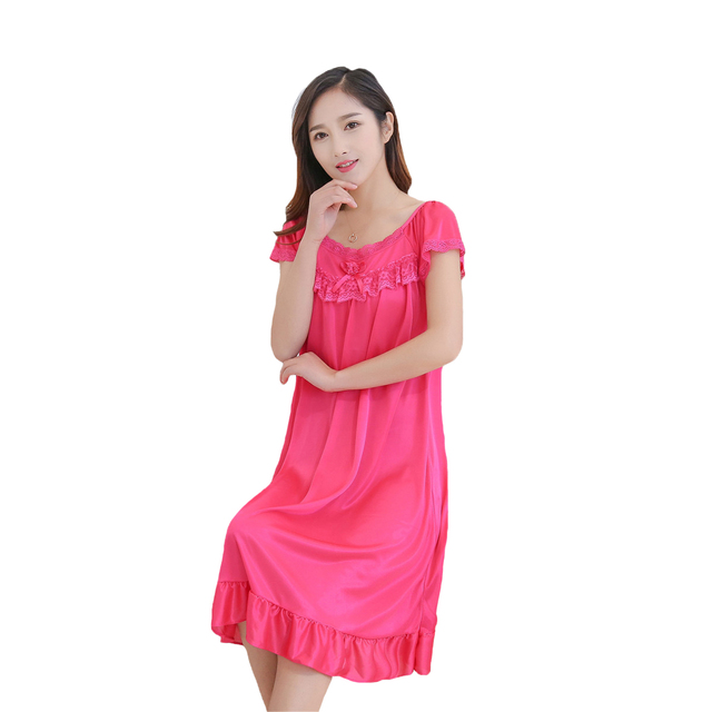 25716010f4 2018 New Women Satin Sleepwear Summer Sexy Lady Female Lace Nightwear Short  Sleeve Solid Nightgown Classic Charming Home Wear