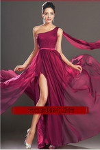 free shipping robe de soiree 2014 new fashion sexy one shoulder vestido de festa red long party formal gown evening Dresses цена