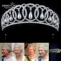 Himstory Waterdrop Pearl Cubic Zircon CZ Tiaras Crown European Royal Queen Princess Tiaras Diadema Wedding Hair Accessories