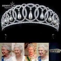 Himstory Waterdrop Perla Zircone Cubico Cz Diademi Crown Europeo Royal Queen Principessa Diademi Diadema da Sposa Accessori per Capelli