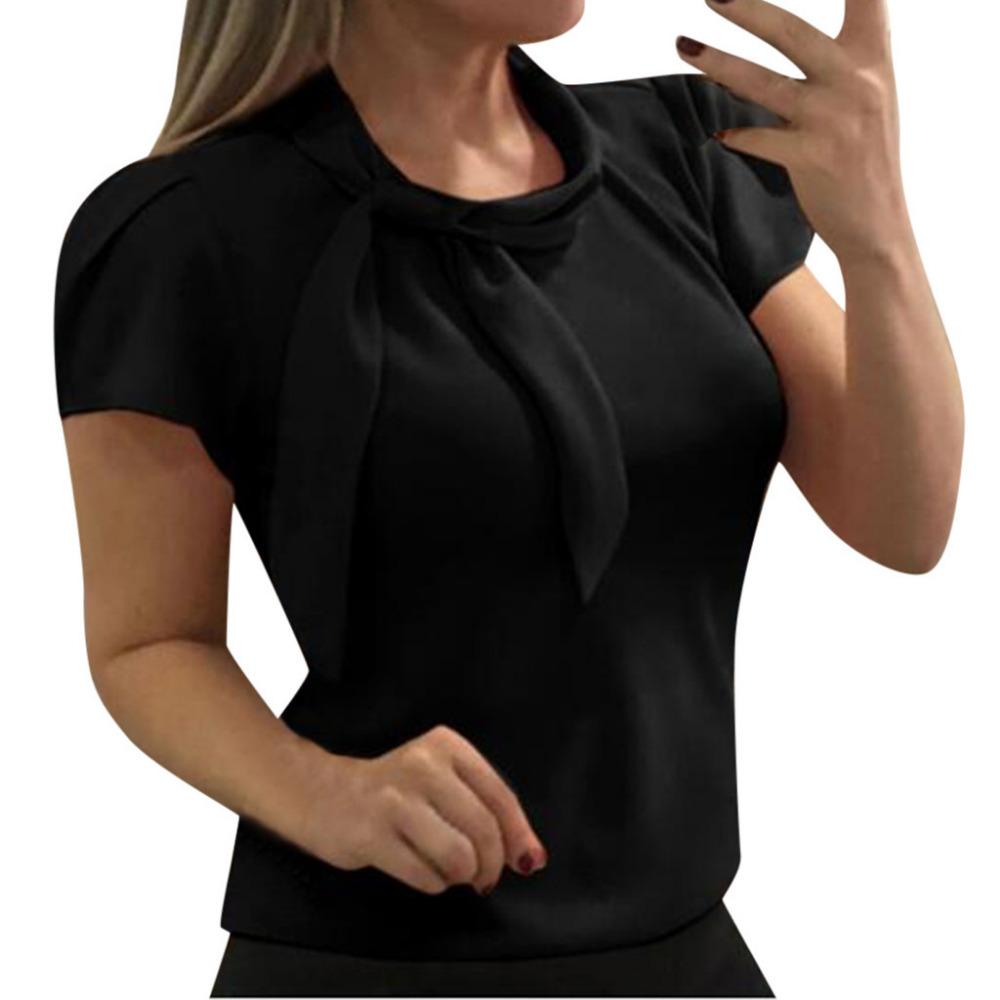 Women Blouse Shirt Solid Short Sleeve O-Neck Chiffon Casual Tops Blouse Femme Blusas Mujer De Moda 2019 Tops Mujer Verano *50
