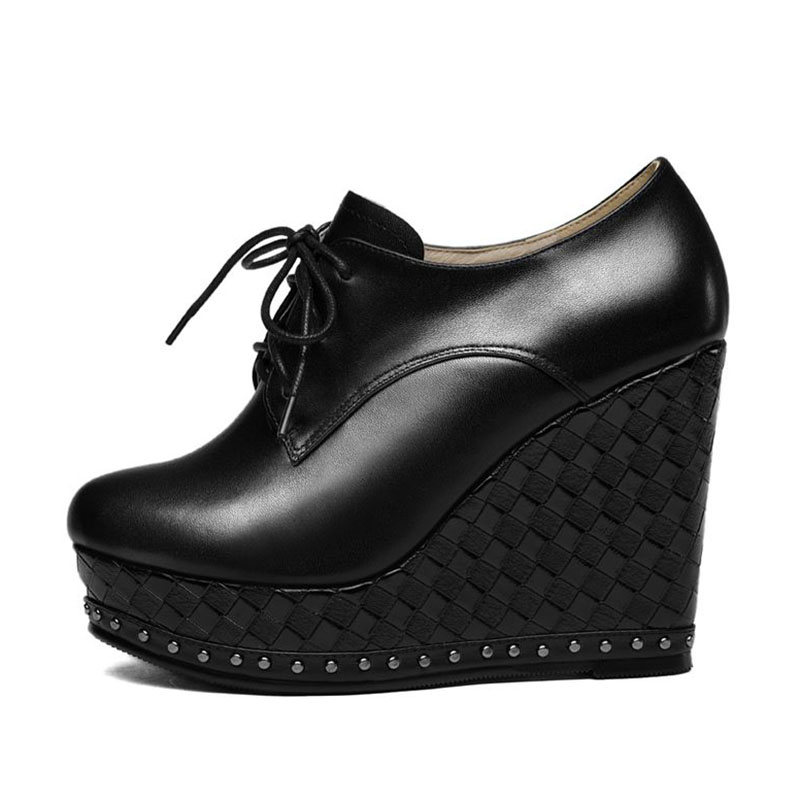 Coolcept ของแท้หนังผู้หญิง Lace Up รอบ Toe Wedges รองเท้าแพลตฟอร์มสีทึบรองเท้าส้นสูงรองเท้าผู้หญิงขนาด 34 39-ใน รองเท้าส้นสูงสตรี จาก รองเท้า บน   2