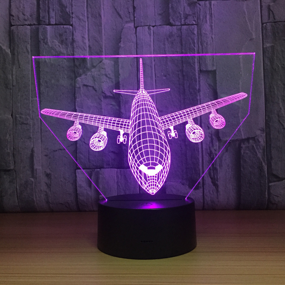 Airbus Plane 3D LED Light Airplane Table Lamp Children Kid Gift 3 Colors Or 7 Colors Change Mood Lamp Touch Or Remote Night Lamp