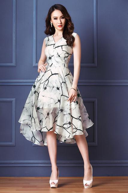 Elegant Women summer Retro Print Casual Dresses lady Sleeveless Vest tank  v-neck Beach dress