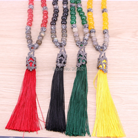 5Pcs Nature Labradorite Mixed Stone Beaded Necklaces For Women Silk Thread Tassel Pendant Necklaces