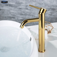 Golden Color Bathroom Sink Mixer Faucet Deck Mounted Gold Water Mixer Tapware Round Style 2 Height For Under & Top Counter
