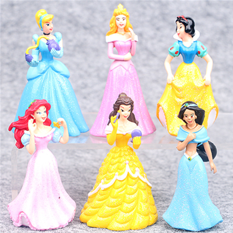 Disney Cartoon Toys 6pcs/Set 8cm Princess Snow White Ariel Cinderella Belle Tinkerbell Pvc Action Figures Dolls Kids Toys Gifts 8 pcs set queen princess cinderella elsa anna little mermaid snow white alice princess pvc figures toys children gifts