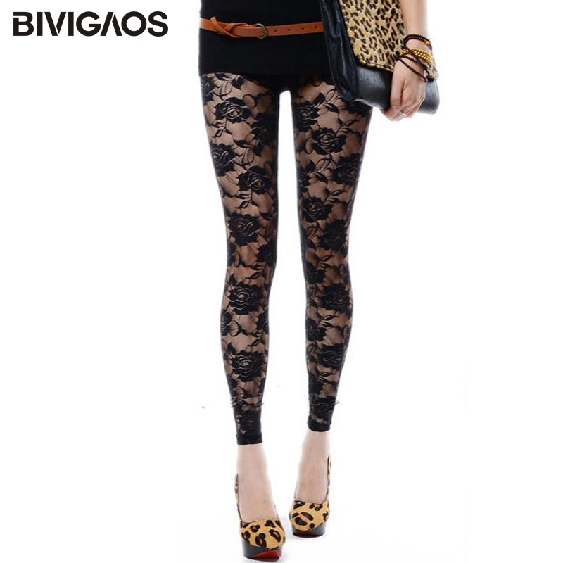 BIVIGAOS New Summer Women Lace Roses Sexy Leggings Thin Elastic Rose Hollow Push Up Leggings Women's Transparent Black Leggings
