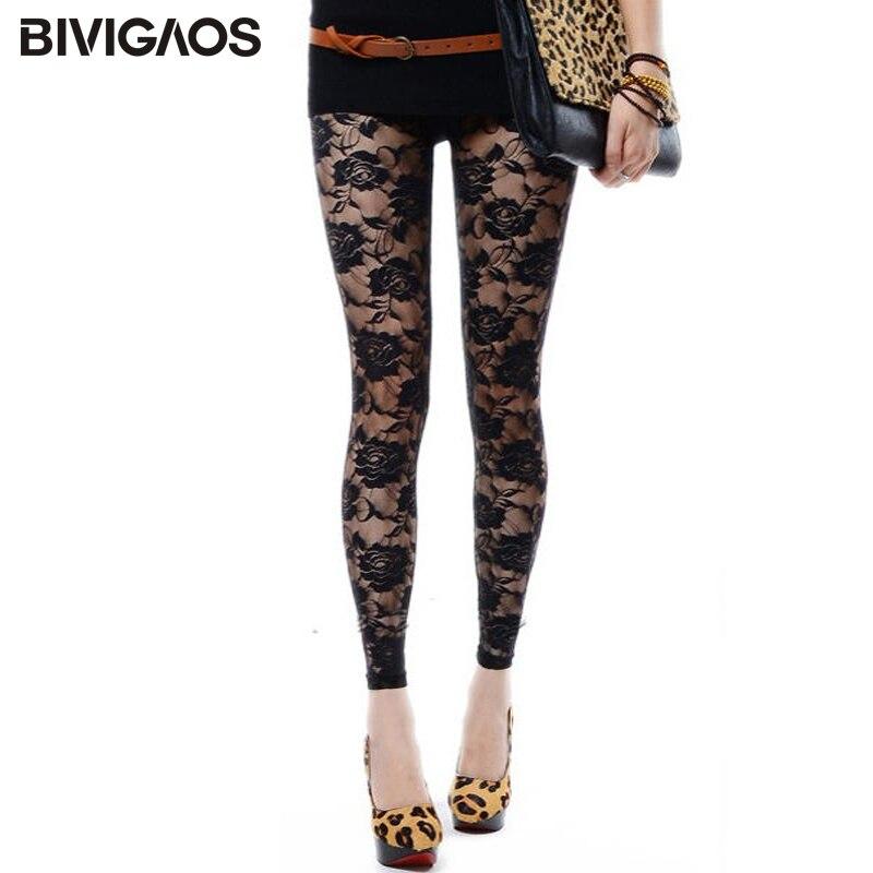 BIVIGAOS New Summer Women Lace Roses Sexy   Leggings   Thin Elastic Rose Hollow Push Up   Leggings   Women's Transparent Black   Leggings