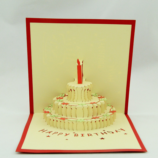 Flower Birthday Cake 3D Kirigami Card Handmade Pop Up Greeting Cards Free Shipping In Invitations From Home Garden On